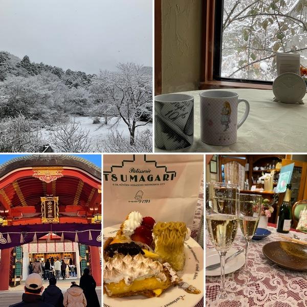 今朝は雪⛄️雪見cafeで定休日のひと時🥰昨日はえべっさんにお詣り&新年会でした。