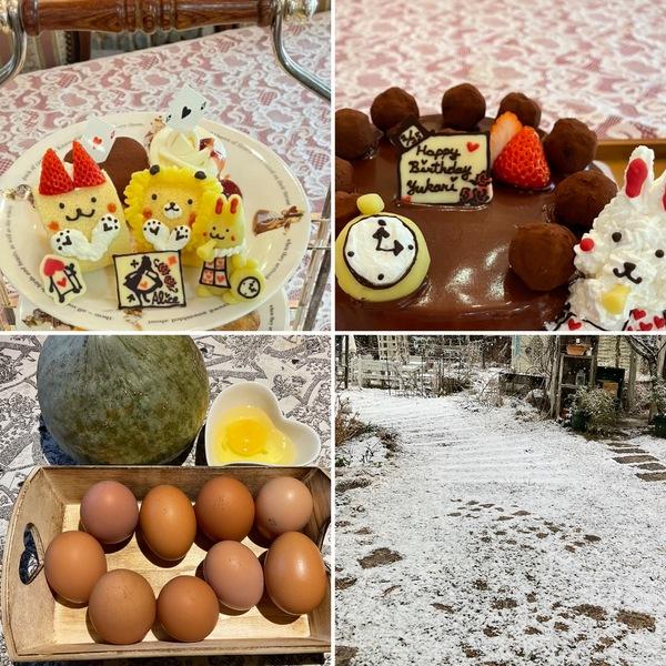 今朝は雪景色⛄️昨日はアフタヌーンティー&バースデーケーキのテイクアウト🎂頂き物の放し飼いの卵が美味しかったよ!