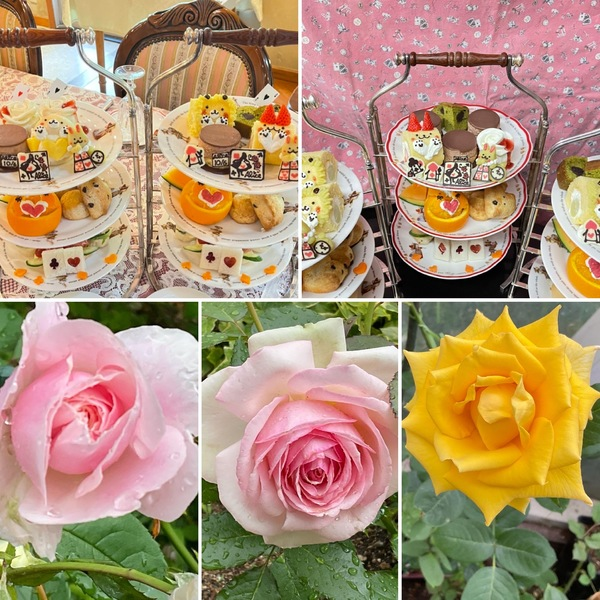 貴婦人が集う不思議の国のアフタヌーンティー🍰薔薇香る不思議の国の花園でお楽しみくださいね。