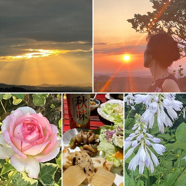有馬に沈む綺麗な夕陽🌄テラスで夕涼み晩餐秋味で乾杯🍻不思議の国の小さい秋見つけてくださいね。🤗