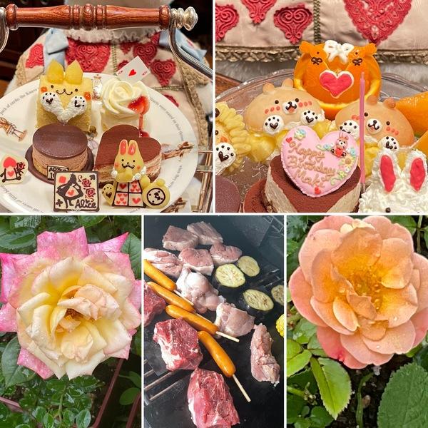 アフタヌーンティー、BBQ&お誕生日会でかわいいケーキが大活躍🥰今日のアリスのランチは満開です。🙇♂️不思議の国のひと時お楽しみくださいね。🥰